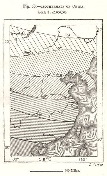 Associate Product Isothermals of China. Sketch map 1885 old antique vintage plan chart