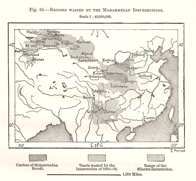Associate Product Regions Wasted by the Mohammedan Muslim Insurrections. China. Sketch map 1885