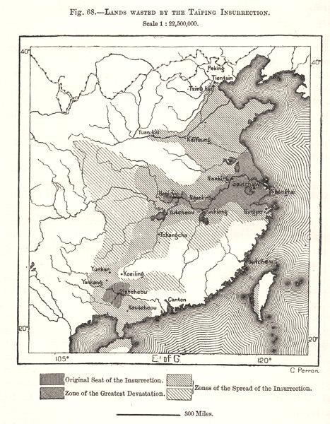 Associate Product Lands Wasted by the Taiping Insurrection. China. Sketch map 1885 old