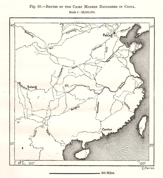 Associate Product Routes of the Chief Modern Explorers in China. Sketch map 1885 old antique