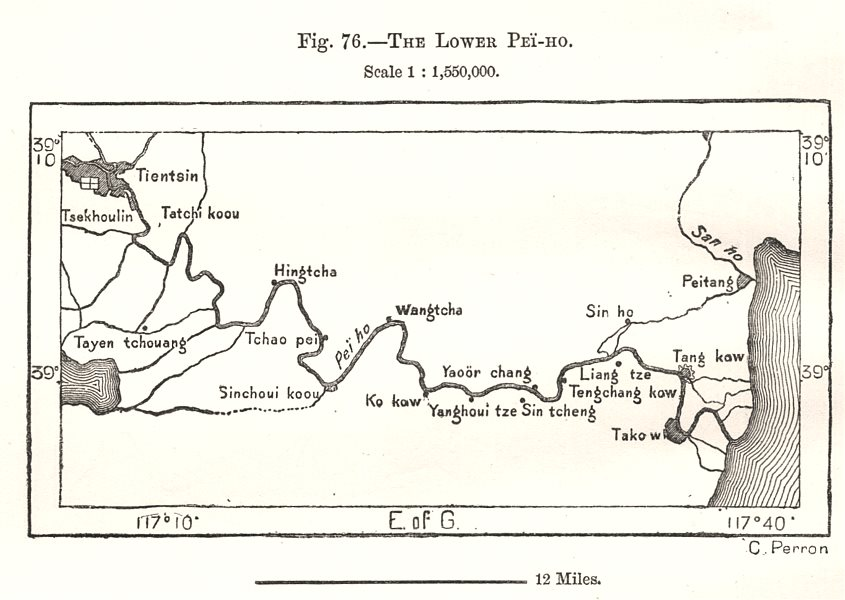 Associate Product The Lower Pei-Ho. Hai River. Tianjin. China. Sketch map 1885 old antique