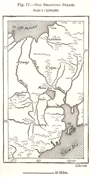 Associate Product Old Shandong Strait. China. Sketch map 1885 antique vintage plan chart