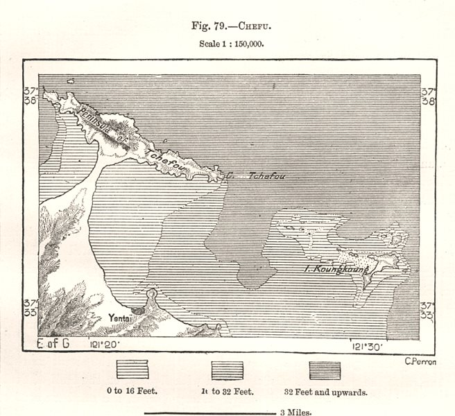 Associate Product Zhifu. China. Sketch map 1885 old antique vintage plan chart