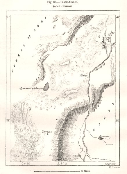Associate Product Trans-Ordos. Helan Mountains. Alxa League. Gobi desert. China. Sketch map 1885