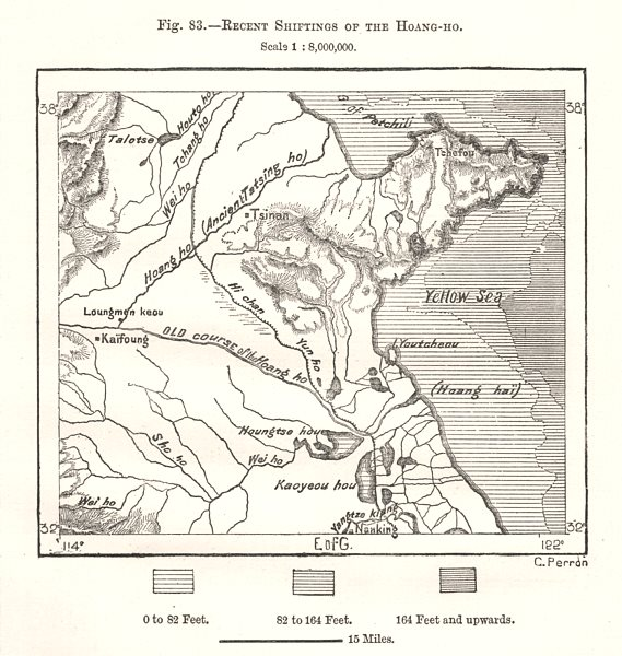 Associate Product Recent Shiftings of the Huang-He, Yellow River. Shandong. China. Sketch map 1885