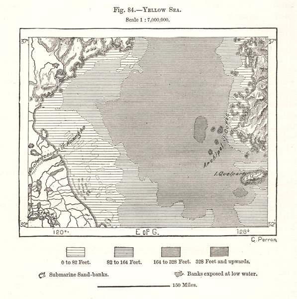 Associate Product Yellow Sea. China Korea. Sketch map 1885 old antique vintage plan chart