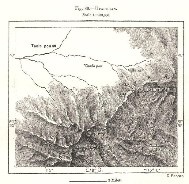Associate Product Mount Wutai. Wutaishan. Qingliang. Qingshui Shanxi China. Sketch map 1885
