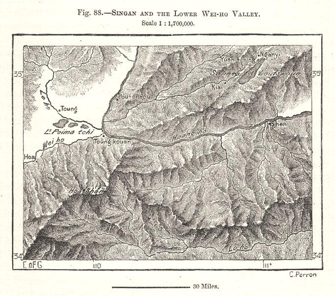 Associate Product Yuncheng Sanmenxia Tongguan Huashan Huayin Yellow/Weihe rivers. Sketch map 1885