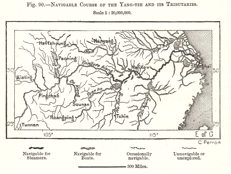 Associate Product Navigable Course of the Yang-tze and its Tributaries. China. Sketch map 1885