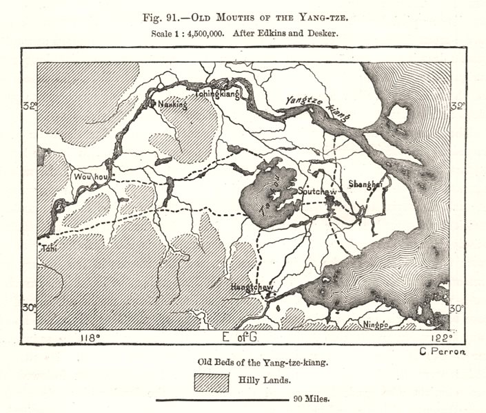 Associate Product Old Mouths of the Yang-tze. After Edkins and Desker. China. Sketch map 1885