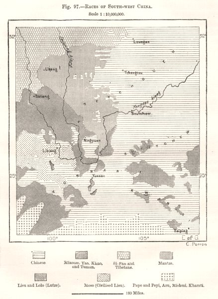 Associate Product Races of South-West China. Sketch map 1885 old antique vintage plan chart
