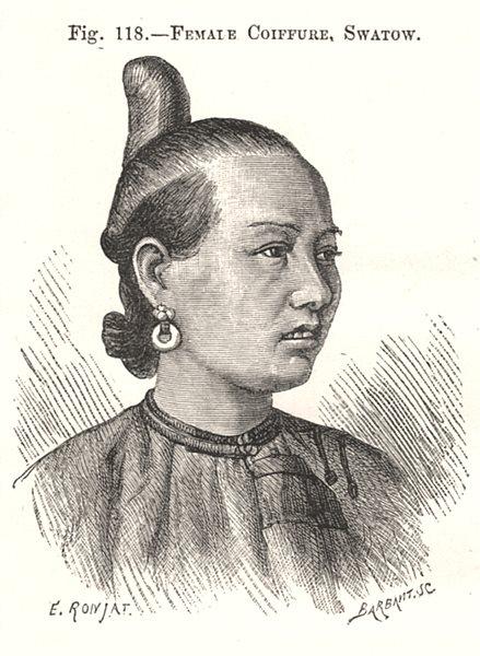 Female Coiffure, Shantou. China 1885 old antique vintage print picture
