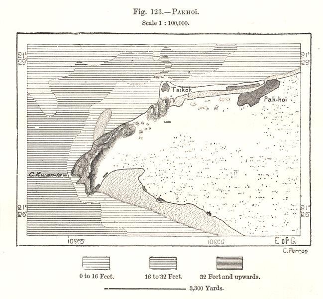 Pakhoi (Beihai). China. Sketch map 1885 old antique vintage plan chart