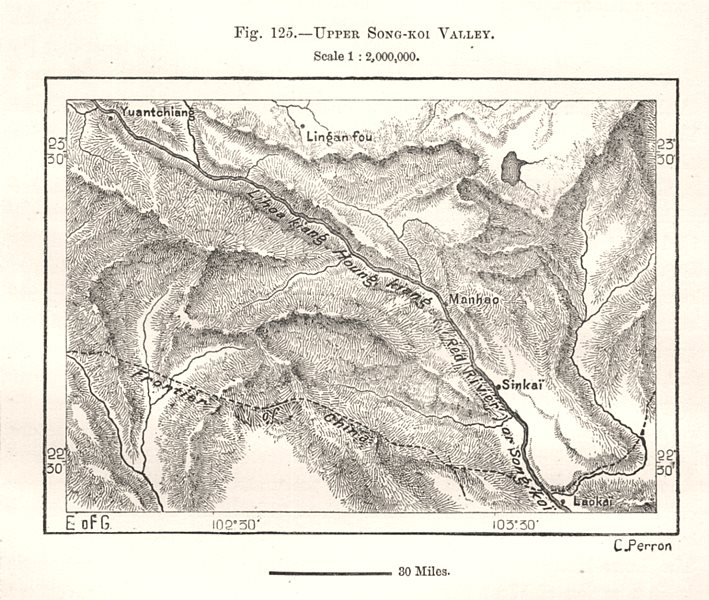 Upper Red River Valley. China. Sketch map 1885 old antique plan chart