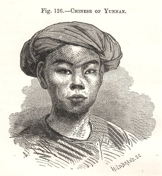 Associate Product Chinese of Yunnan. China 1885 old antique vintage print picture