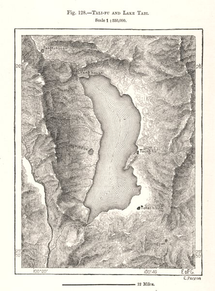 Associate Product Tali-fu and Lake Erhai. China. Sketch map 1885 old antique plan chart