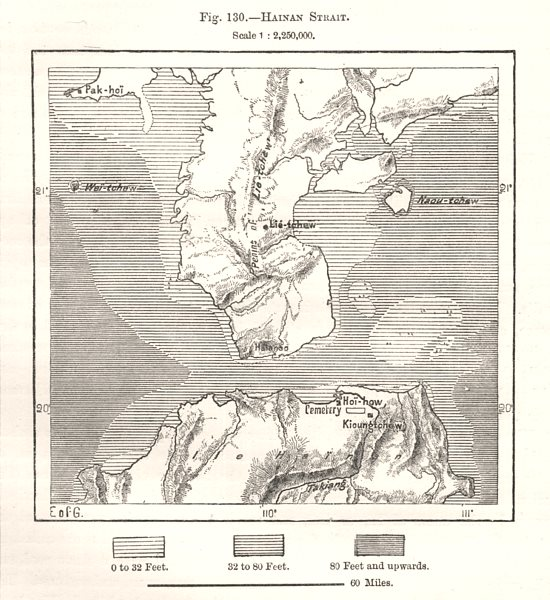 Associate Product Hainan Strait. China. Sketch map 1885 old antique vintage plan chart