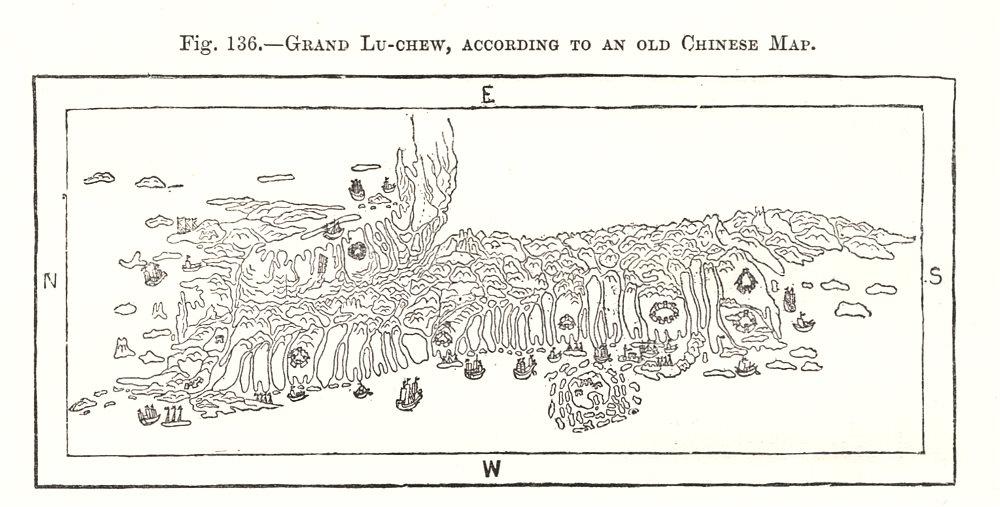 Associate Product Grand Lu-Chew (Taiwan / Liuqiu), from an old Chinese Map. Sketch map 1885