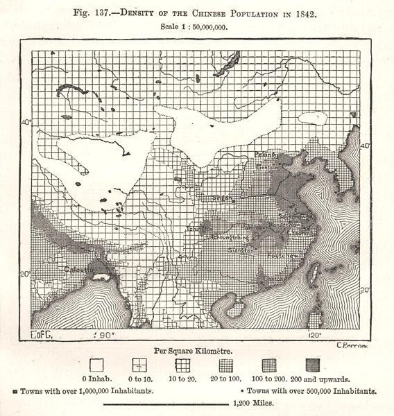 Associate Product Density of the Chinese Population in 1842. China. Sketch map 1885 old