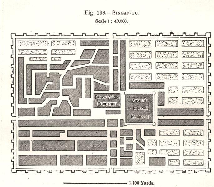 Associate Product Singan-Fu (Xian) city plan. Fortifications. China. Sketch map 1885 old