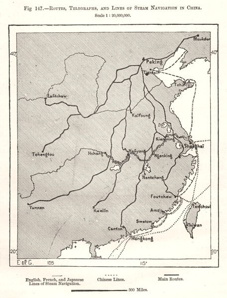 Associate Product Routes, Telegraphs and Lines of Steam Navigation in China. Sketch map 1885