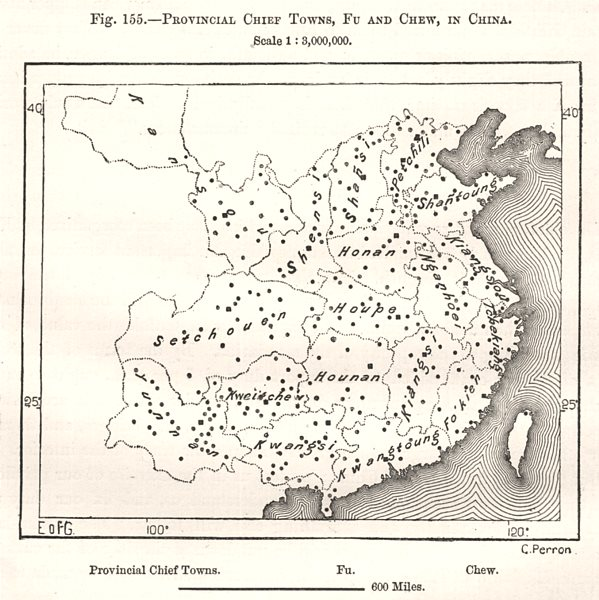 Associate Product Provincial Chief Towns, Fu and Chew, in China. Sketch map 1885 old antique