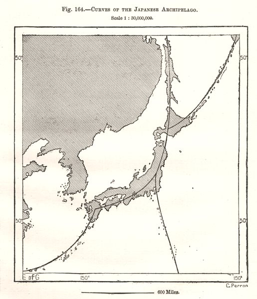 Associate Product Curves of the Japanese Archipelago. Sketch map 1885 old antique plan chart
