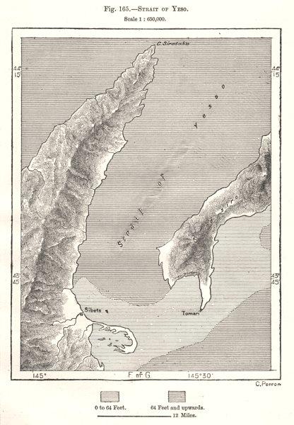Associate Product Strait of Yeso. Nemuro Strait. Hokkaido Kunashir Japan. Sketch map 1885