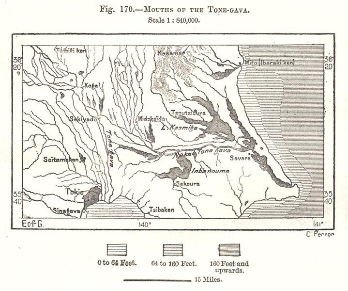 Mouths of the Tone Gawa river, Kanto, Japan. Chiba. Tokyo. Sketch map 1885