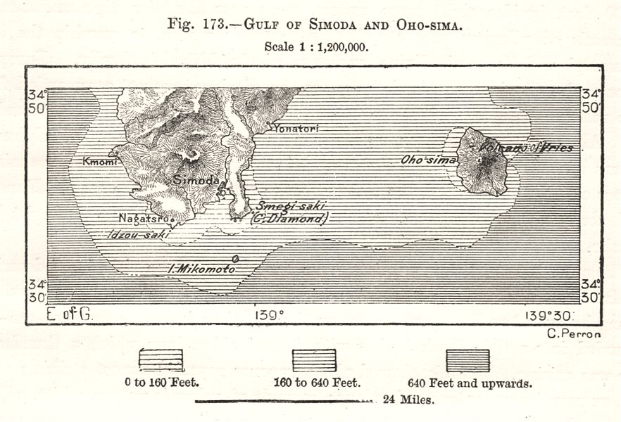 Associate Product Izu peninsula. Cape Irozaki. Sagaminada. Oshima island. Shimoda. Sketch map 1885