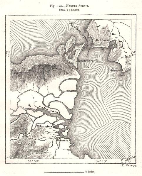 Associate Product Naruto Strait. Awaji Island. Shikoku. Japan. Tokushima. Sketch map 1885