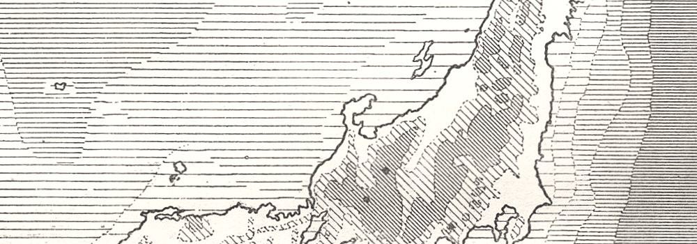 Relief of Japan and Depths of the Surrounding Waters. Sketch map 1885 old
