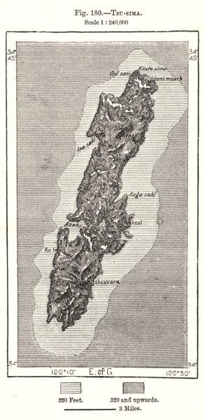 Tsushima Island. Japan. Sketch map 1885 old antique vintage plan chart