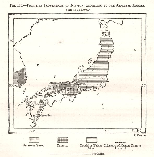 Associate Product Primitive Populations of Nippon per the Japanese Annals. Sketch map 1885
