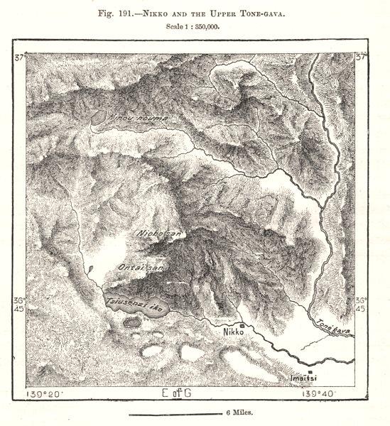 Associate Product Nikko & Tone-gawa. Mounts Nantai Nyoho. Lake Chuzenji. Japan. Sketch map 1885