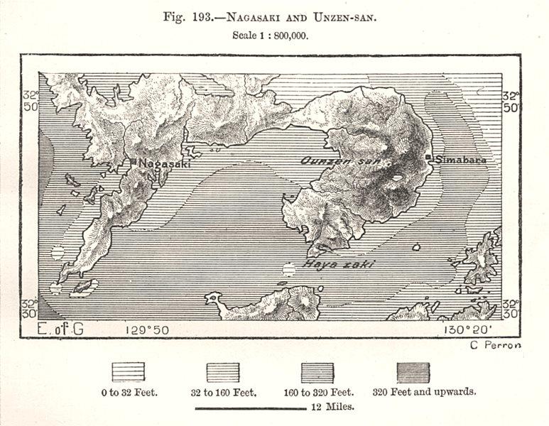 Associate Product Nagasaki and Unzen-san. Japan. Sketch map 1885 old antique plan chart