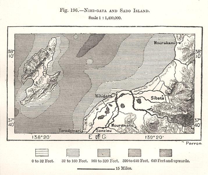 Associate Product Niigata and Sado Island. Murakami. Japan. Sketch map 1885 old antique
