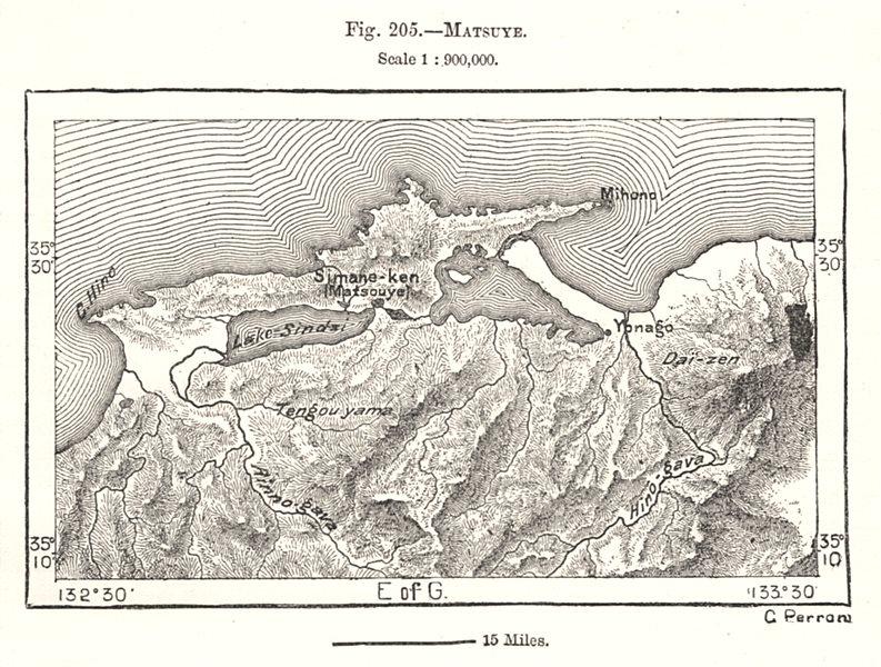 Associate Product Matsue. Lake Shinji. Nakaumi. Izumo Daisen. Japan. Sketch map 1885 old