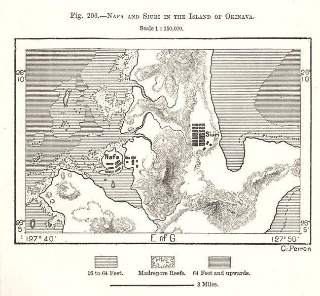Associate Product Naha and Shuri, Okinawa island. Japan. Sketch map 1885 old antique chart