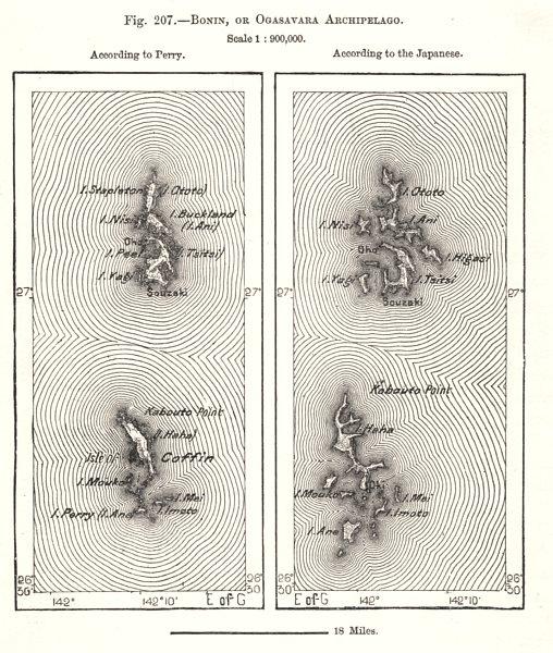 Associate Product Bonin, or Ogasawara Archipelago. Japan. Sketch map 1885 old antique chart