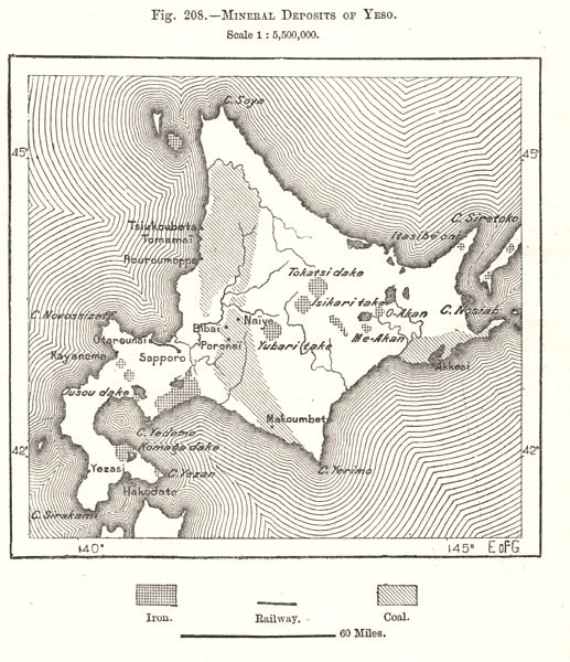 Associate Product Mineral Deposits of Hokkaido. Iron Coal. Japan. Sketch map 1885 old