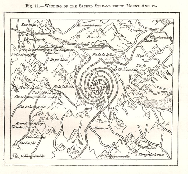 Associate Product Winding of the Sacred Streams Round Mount Aneuta. India. Sketch map 1885