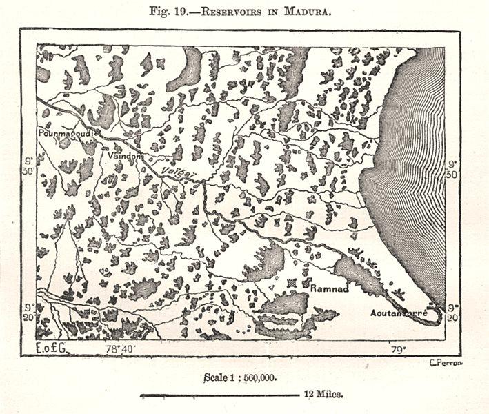 Associate Product Reservoirs in Madurai. Atrangurai. India. Sketch map 1885 old antique