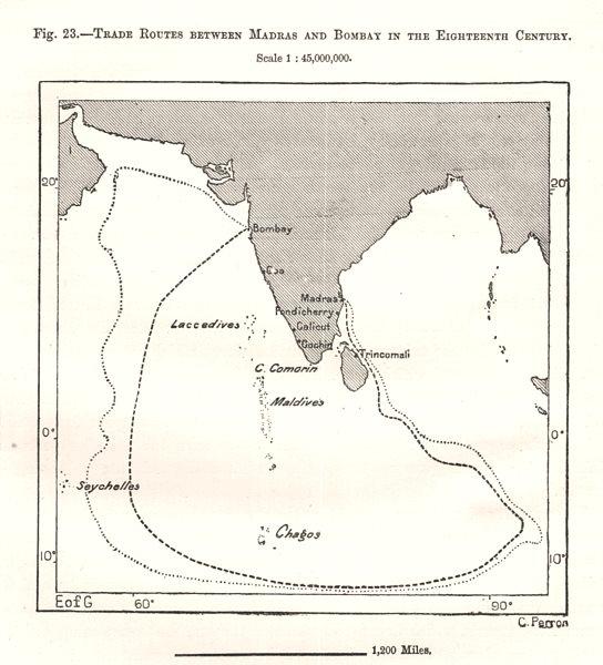 Associate Product Madras (Chennai) - Bombay (Mumbai) 18C trade routes. India. Sketch map 1885