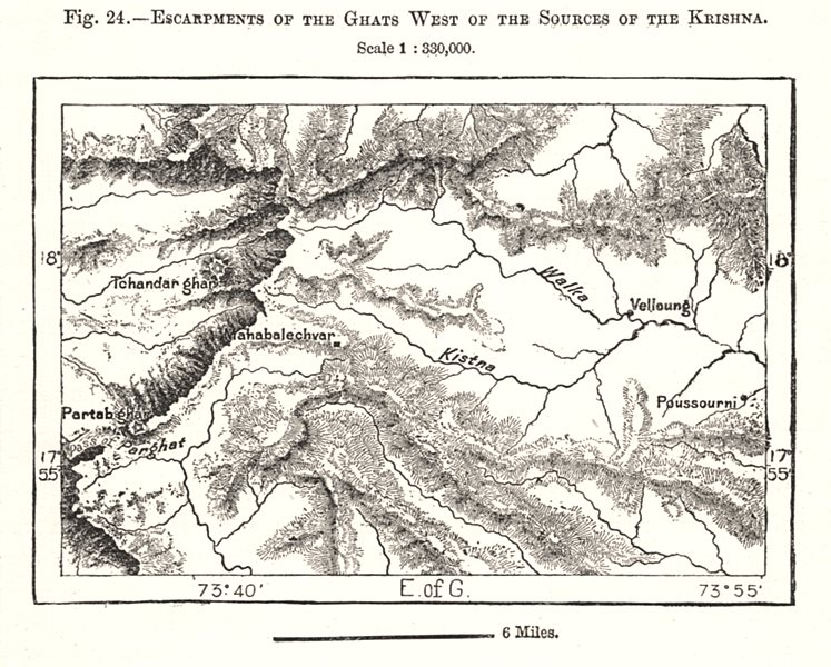 Associate Product Ghats escarpments west of the sources of the Krishna. India. Sketch map 1885