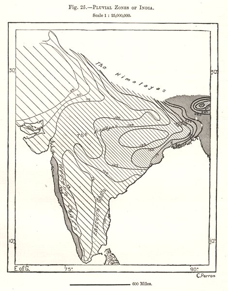 Associate Product Pluvial Zones of India. Sketch map 1885 old antique vintage plan chart