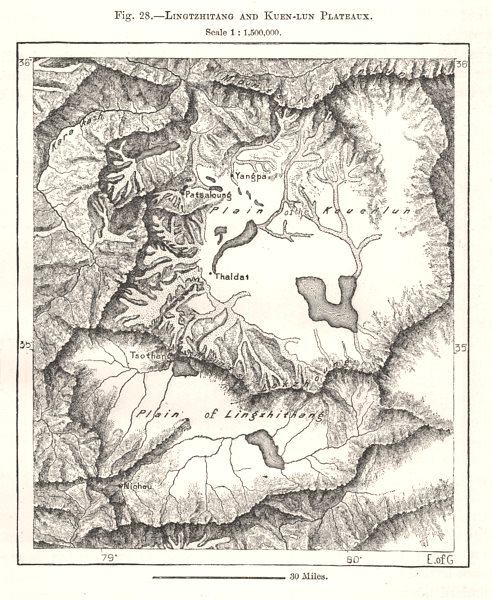 Associate Product Lingtzhitang and Kuen-lun Plateaux. China. Sketch map 1885 old antique