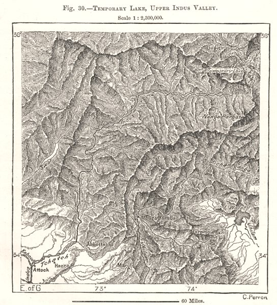 Associate Product Temporary Lake, Upper Indus Valley. India. Sketch map 1885 old antique