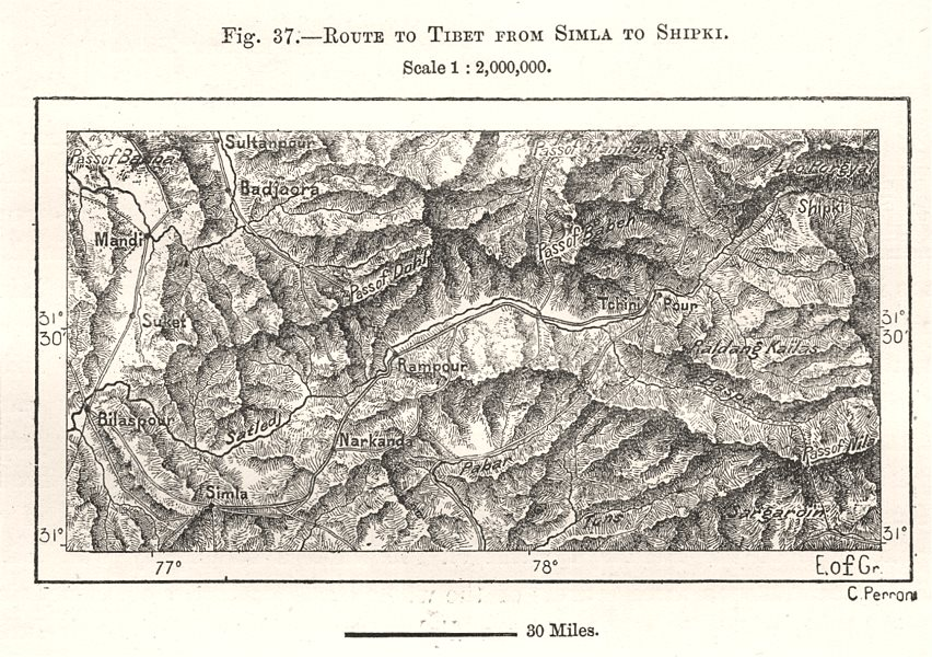 Associate Product Route to Tibet from Shimla to Shipki. India. Sketch map 1885 old antique