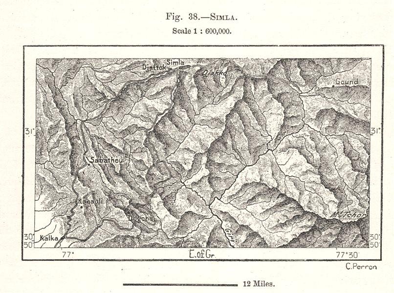 Shimla environs. India. Sketch map 1885 old antique vintage plan chart